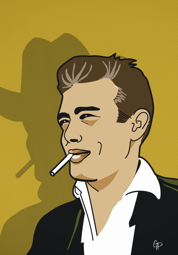 "James Dean ""the giant"" illustration"